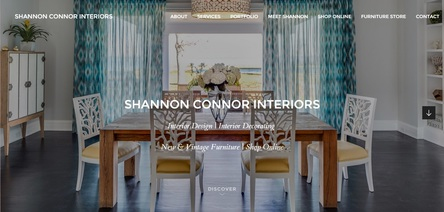 shannon connor interiors website landingpage